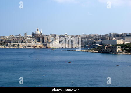 Approaching Valletta, Malta, from the sea - Stock Photo