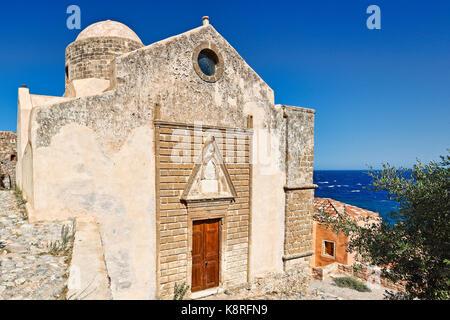 Agios Nikolaos church in the Byzantine castle-town of Monemvasia in Greece - Stock Photo