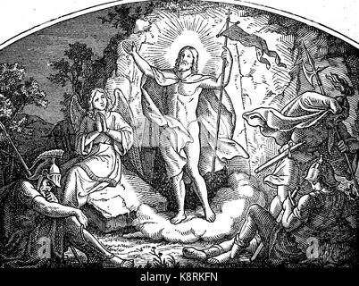 The resurrection of Jesus Christ, digital improved reproduction of a woodcut, published in the 19th century - Stock Photo