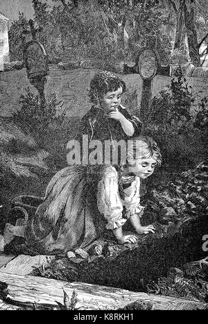 Two children look into a freshly torn grave, Zwei Kinder schauen in ein frisch ausgehobenes Grab, digital improved - Stock Photo