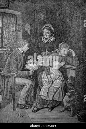 The unpleasant suitor, Young Man, wants to marry a girl, but she will not have him, Der unangenehme Freier, Junger - Stock Photo