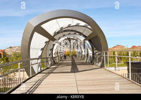 Madrid, Spain - April 20, 2013: Arganzuela Bridge designed by Dominique Perrault. - Stock Photo