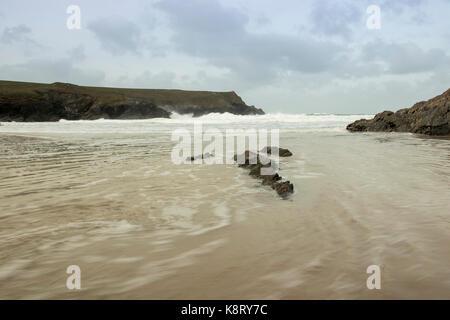 Polly Joke Beach, Newquay, Cornwall, England, UK, Waves, Sea