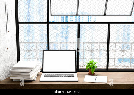 Front view of workpark with blank laptop screen, blank frame, and notebook in modren home office work.for Mock up, - Stock Photo