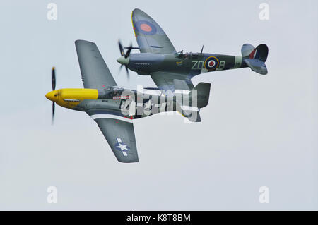 P-51D Mustang and Spitfire IX - Stock Photo