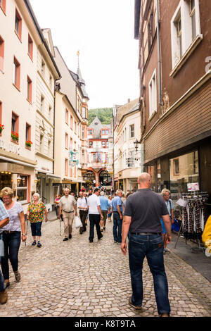 BERNKASTEL-KEUS, GERMANY - 5TH Aug 17:  Streets of Bernkastel-Kues, an old town situated on the river Moselle is - Stock Photo