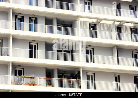 modern luxury apartments balcony's, detail, Milan - Stock Photo