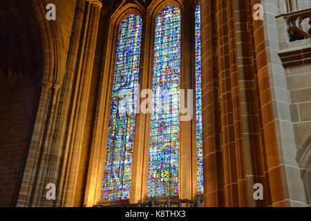 Liverpool Cathedral stained glass window - Stock Photo
