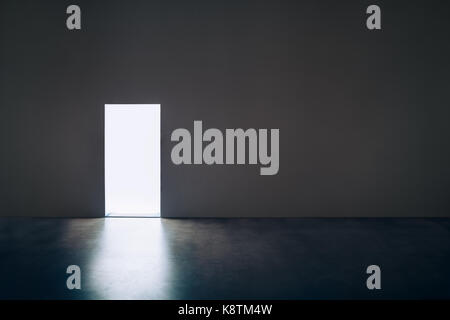 Light door in dark room.Hope concept - Stock Photo