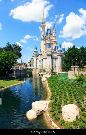 Fairytale palace in Walt Disney Magic Kingdom theme park, Orlando Florida, USA - Stock Photo