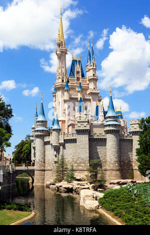 Fairytale palace in Walt Disney Magic Kingdom theme park, Orlando Florida, USA - Stock Photo