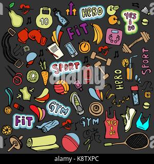 Sports hand draw icon and elements. Fitness and sport colored icon collection, cartoon doodle sport icons. - Stock Photo