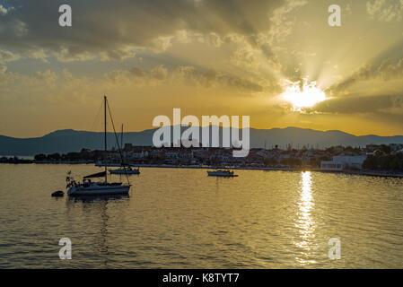 Samos island, Greece: Sunset at Pythagorion/Pythagoreio - Stock Photo