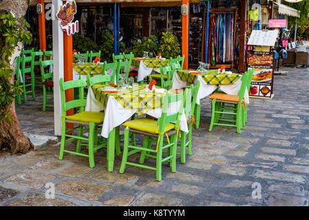 Samos island, Greece - September 18, 2016: Street cafee at Pythagorion/Pythagoreio - Stock Photo