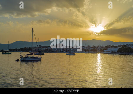 Samos island, Greece: Sunset at Pythagorion/Pythagoreio - Stock Photo