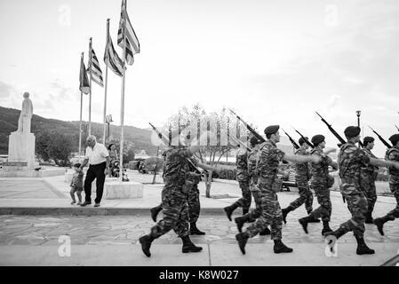 Samos island, Greece - September 18, 2016: Greek soldiers at Samos street - Stock Photo