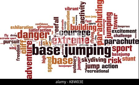 BASE jumping word cloud concept. Vector illustration - Stock Photo