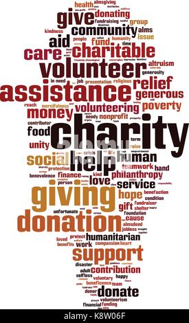 Charity word cloud concept. Vector illustration - Stock Photo