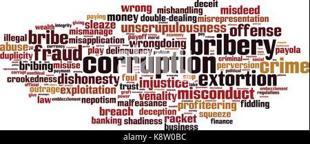 Corruption word cloud concept. Vector illustration - Stock Photo