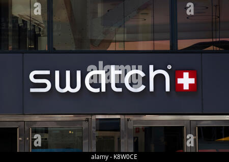 NEW YORK, USA - AUGUST 31, 2017: Detail of the Swatch store in New York, USA. Swatch is watch manufacturing company - Stock Photo
