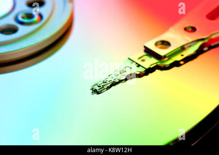 Hard disk drive platter and read / write head (HDD read/write head, Hard Drive) - Stock Photo