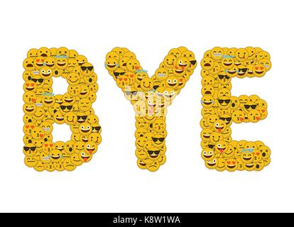 The Word Cute Written In Social Media Emoji Smiley Characters Stock