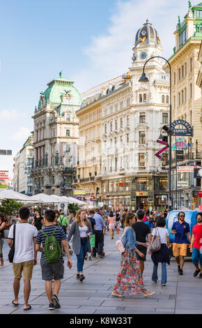 VIENNA, AUSTRIA - AUGUST 28: People in the pedestrian area of the historic city center of  Vienna, Austria on August - Stock Photo