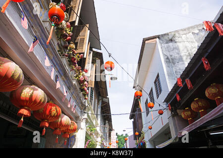 Red Chinese Lanterns at Concubine Lane in Ipoh, Perak. Concubine Lane is one of tourist attraction in Ipoh, capital - Stock Photo