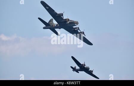 B-17 Flying Fortress - Sally B & Bristol Blenheim at the Bournemouth Air Festival - Stock Photo