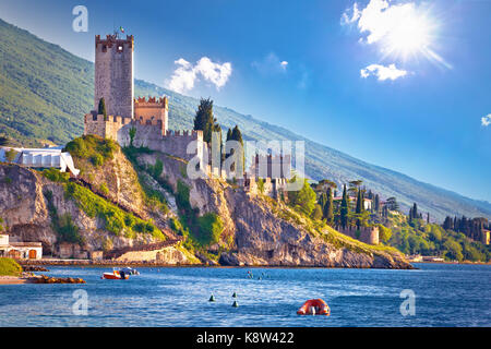 Town of Malcesine castle and waterfront view, Veneto region of Italy, Lago di Garda - Stock Photo