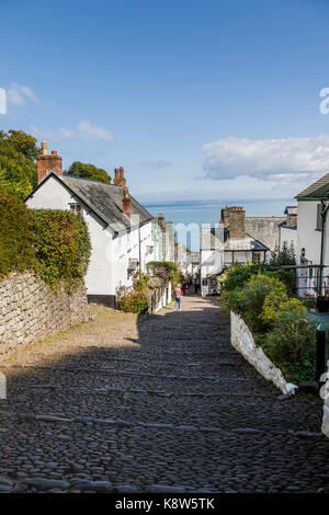 Clovelly, a small heritage village in north Devon, a tourist attraction famous for its steep pedestrianised cobbled - Stock Photo