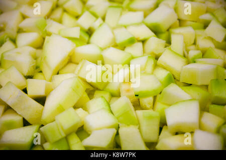Green, yellow food background texture on Zucchini, Courgette inc - Stock Photo