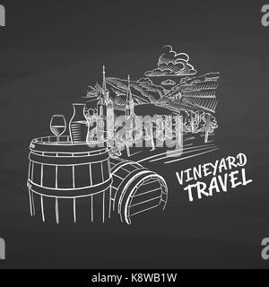 Vineyard travel drawing on chalkboard. Hand drawn healthy food sketch. Black and White Vector Drawing on Blackboard. - Stock Photo