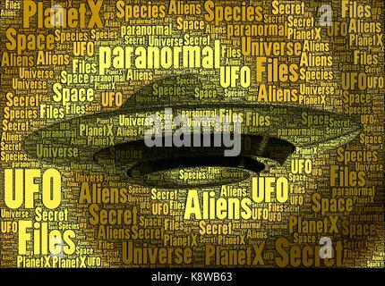 UFO horizontal made only with words on the subject, paranormal concept. - Stock Photo