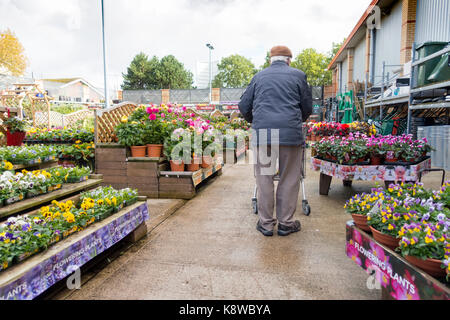 Elderly retired male man walking with a shopping trolley in the garden section in full bloom at the popular DIY - Stock Photo