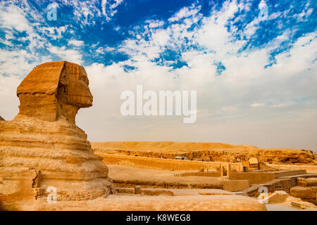 Sphinx near the pyramids in Giza. Cairo, Egypt - Stock Photo