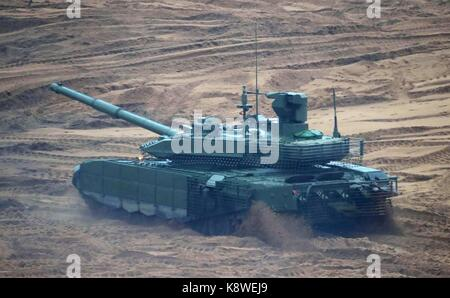 A Russian T-72B3 tank during the Zapad West 2017 military exercise at the Luzhsky Range training ground September - Stock Photo