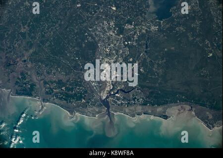 View from the International Space Station of Charleston, South Carolina after Hurricane Irma caused record floods - Stock Photo