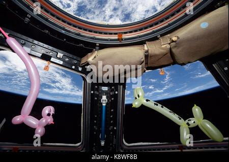NASA Expedition 52 crew member American astronaut Randy Bresnik created balloon animals for his 7 and 11 year-old - Stock Photo