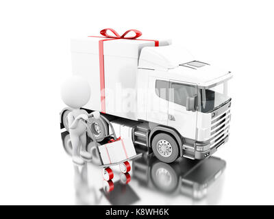 3d illustration. White people delivering a gift box with truck and delivery van. Presents delivery service concept. - Stock Photo