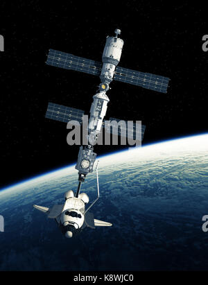 Space Shuttle And International Space Station On Background Of Planet Earth - Stock Photo