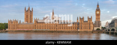 Panoramic view of Palace of Westminster in the morning , London, England. - Stock Photo
