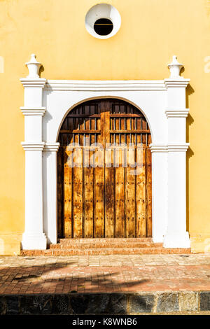San Clemente Church (Iglesia de San Clemente), built in 1538. Coro, Falcon state, Venezuela. - Stock Photo
