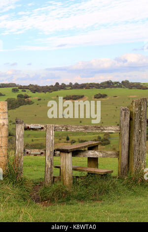 A stile at Devil's Dyke  on the south Downs near Brighton, Sussex United Kingdom - Stock Photo