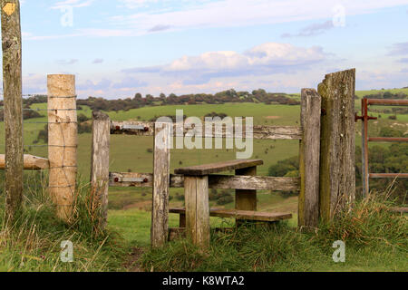 A stile at Devil's Dyke  on the south Downs near Brighton, Sussex. United Kingdom - Stock Photo