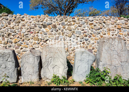 View of the dancers in Monte Alban in Oaxaca, Mexico - Stock Photo