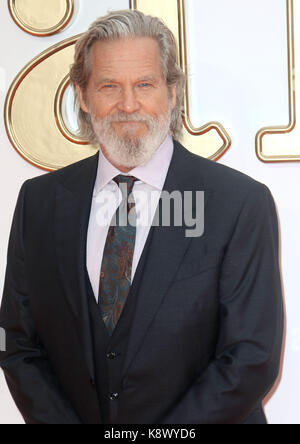 LONDON - SEP 18, 2017: Jeff Bridges attends the Kingsman: The Golden Circle World Premiere at Odeon Leicester Square - Stock Photo