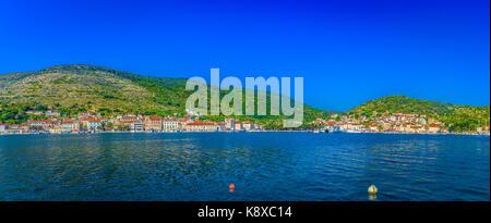 Summer panorama of South of Croatia, Island Vis scenery. - Stock Photo