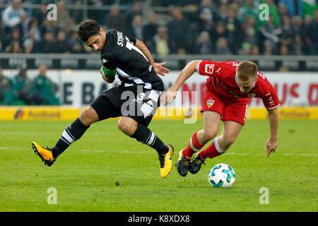sports, football, Bundesliga, 2017/2018, Borussia Moenchengladbach vs VfB Stuttgart 2:0, scene of the match, team - Stock Photo