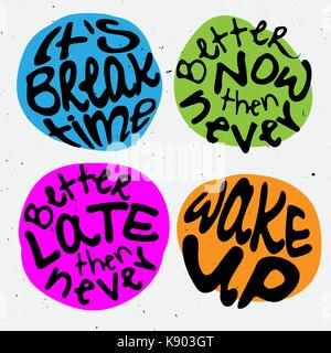 Time lettering. Motivation quotes about time and to do lists. circle lettering about Right moment and hurry up mood. - Stock Photo